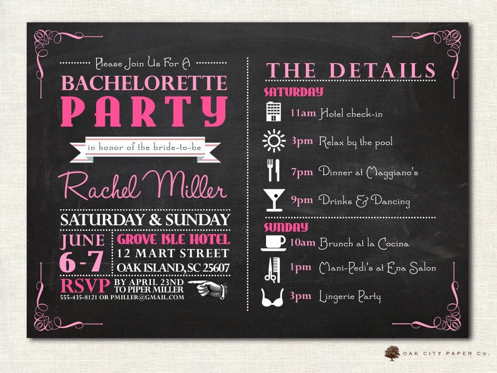 Free Bachelorette Itinerary Template Lovely Bachelorette Invitation Bachelorette Party Invitation