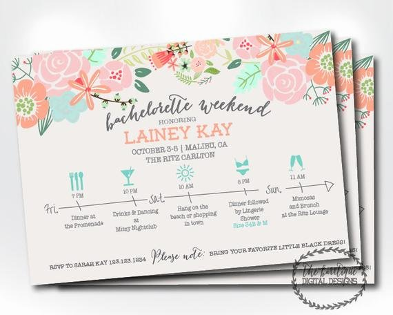 Free Bachelorette Itinerary Template Lovely Bachelorette Party Itinerary Invitation Bachelorette Weekend