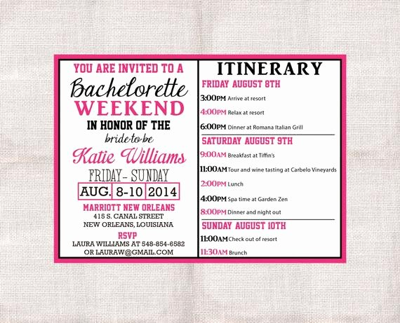 Free Bachelorette Itinerary Template Lovely Bachelorette Party Weekend Invitation and Itinerary Custom