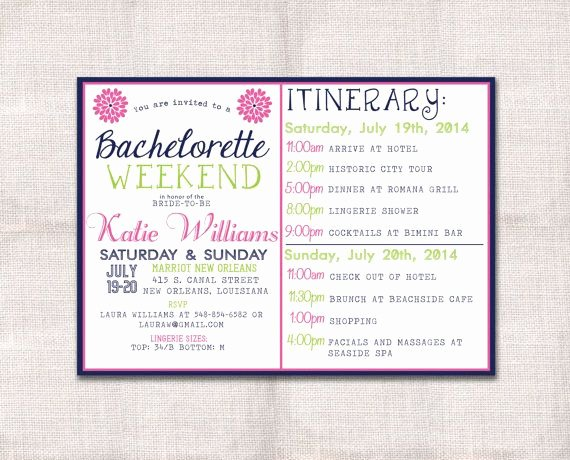 Free Bachelorette Itinerary Template Lovely Bachelorette Party Weekend Invitation and Itinerary