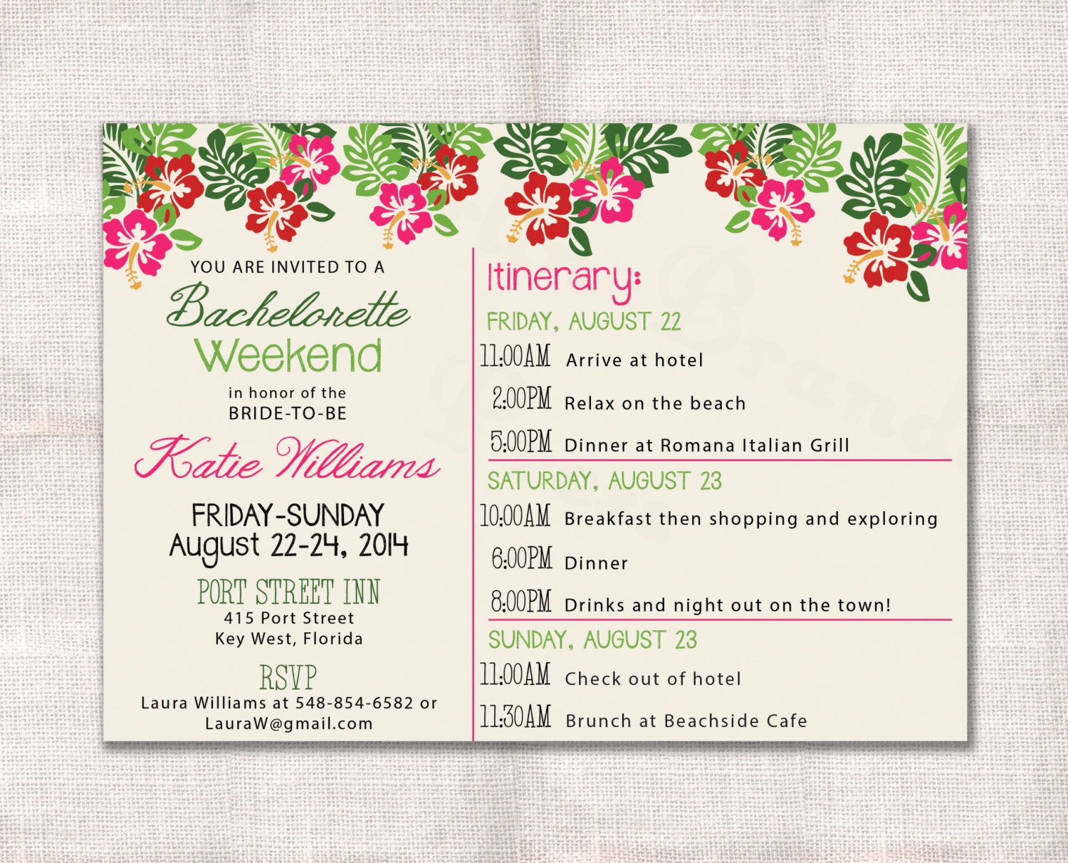 Free Bachelorette Itinerary Template Luxury Bachelorette Party Weekend Invitation and Itinerary Custom