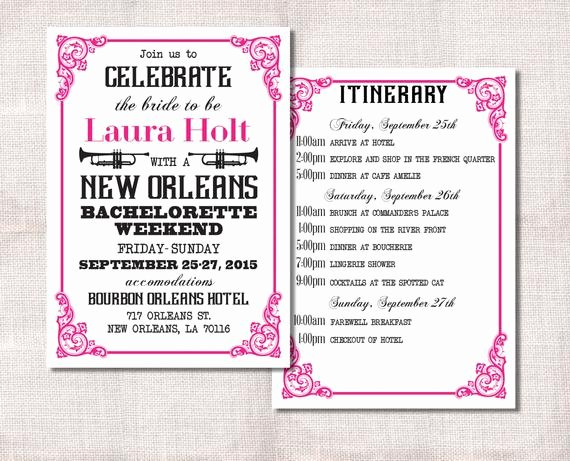 Free Bachelorette Itinerary Template Unique Bachelorette Party Weekend Invitation and Itinerary Custom