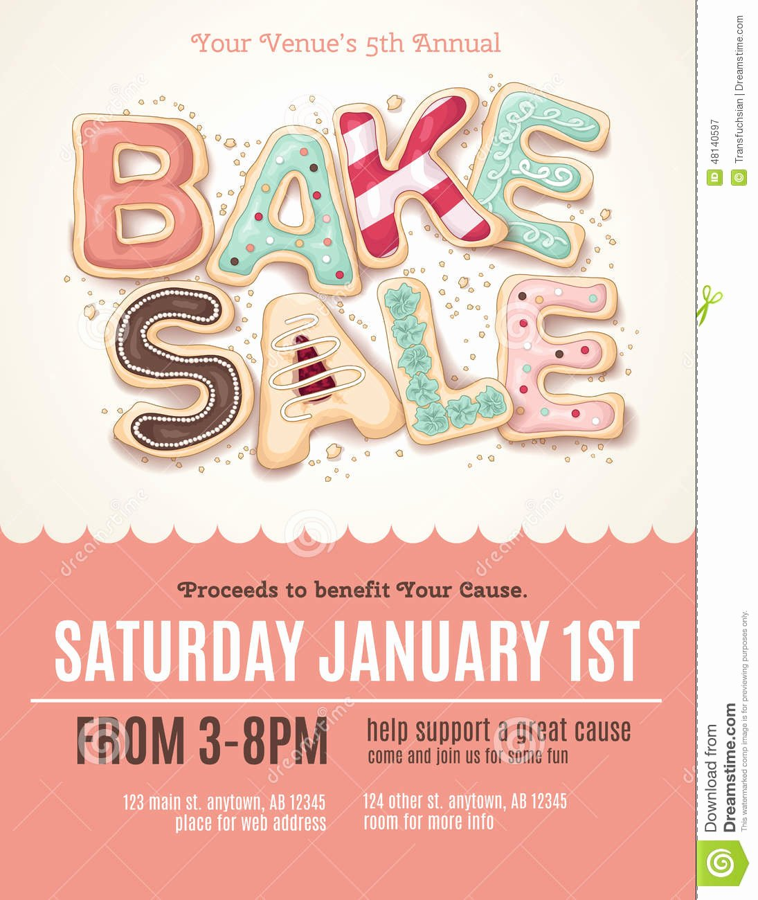 Free Bake Sale Template New Fun Cookie Bake Sale Flyer Template Stock Vector