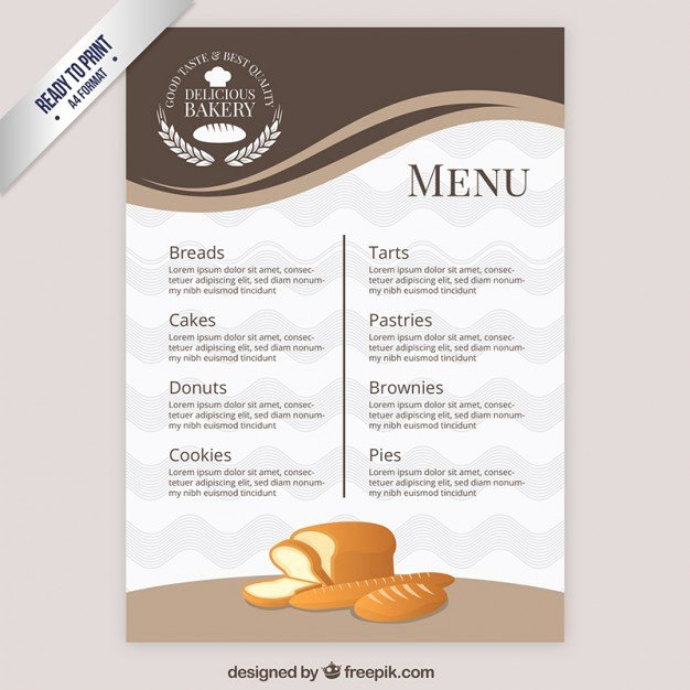 Free Bakery Menu Template Elegant Elegant Menu Template Bakery Vector
