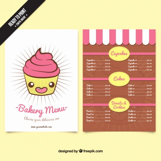 Free Bakery Menu Template Elegant Nice Cupcake Bakery Menu Template Vector