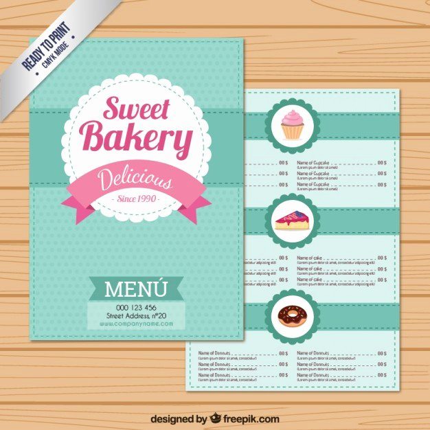 Free Bakery Menu Template Fresh Sweet Bakery Menu Template Vector