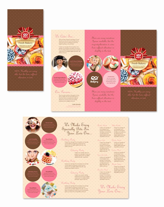 Free Bakery Menu Template Luxury Bakery Tri Fold Brochure Template