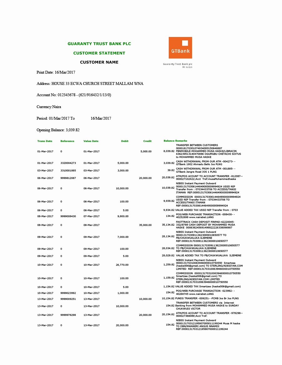 Free Bank Statement Template New 23 Editable Bank Statement Templates [free] Template Lab