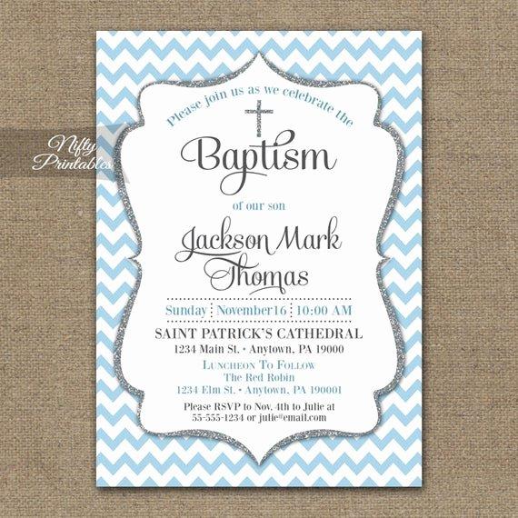 Free Baptism Invitation Templates Best Of Blue Baptism Invitations Printable Baby Blue Chevron Baptism
