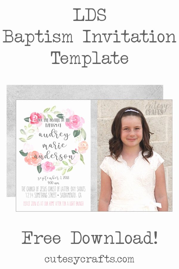 Free Baptism Invitation Templates New Free Lds Baptism Invitation Template Cutesy Crafts