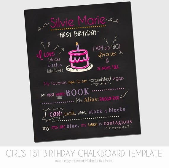 Free Birthday Chalkboard Template Beautiful Items Similar to Girl S First Birthday Chalkboard Template