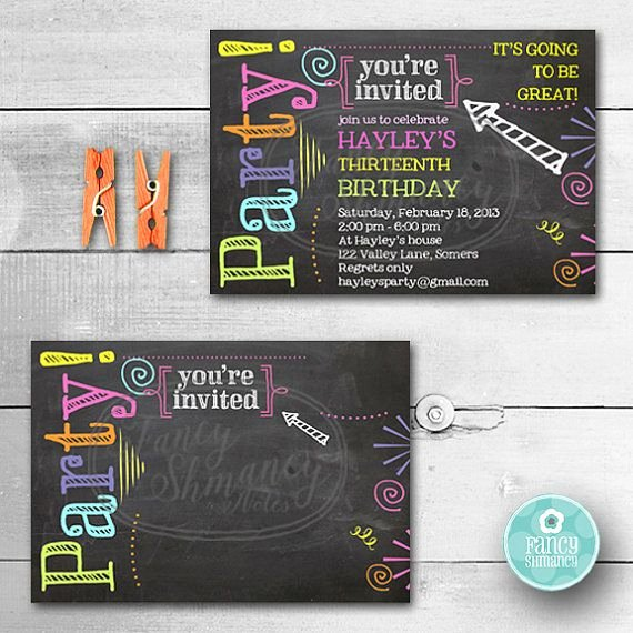 Free Birthday Chalkboard Template Best Of Editable Chalkboard Birthday Invitation Neon Colors