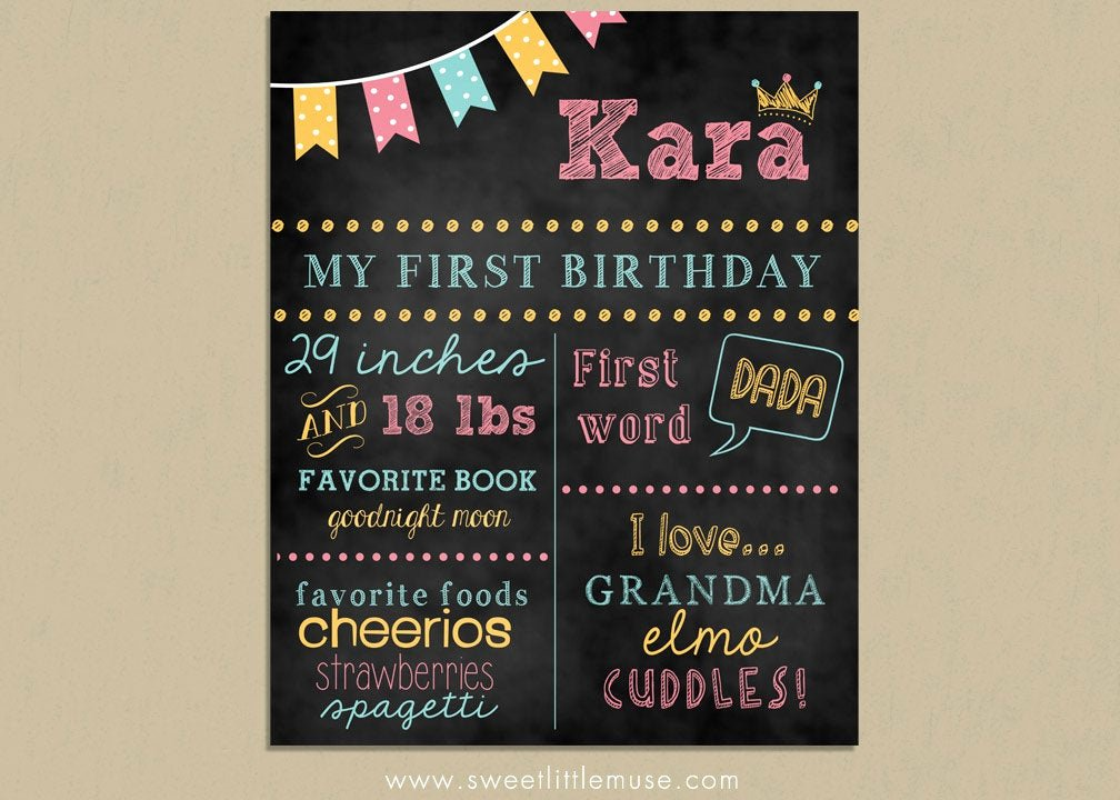 Free Birthday Chalkboard Template Fresh First Birthday Chalkboard Template Chalkboard by