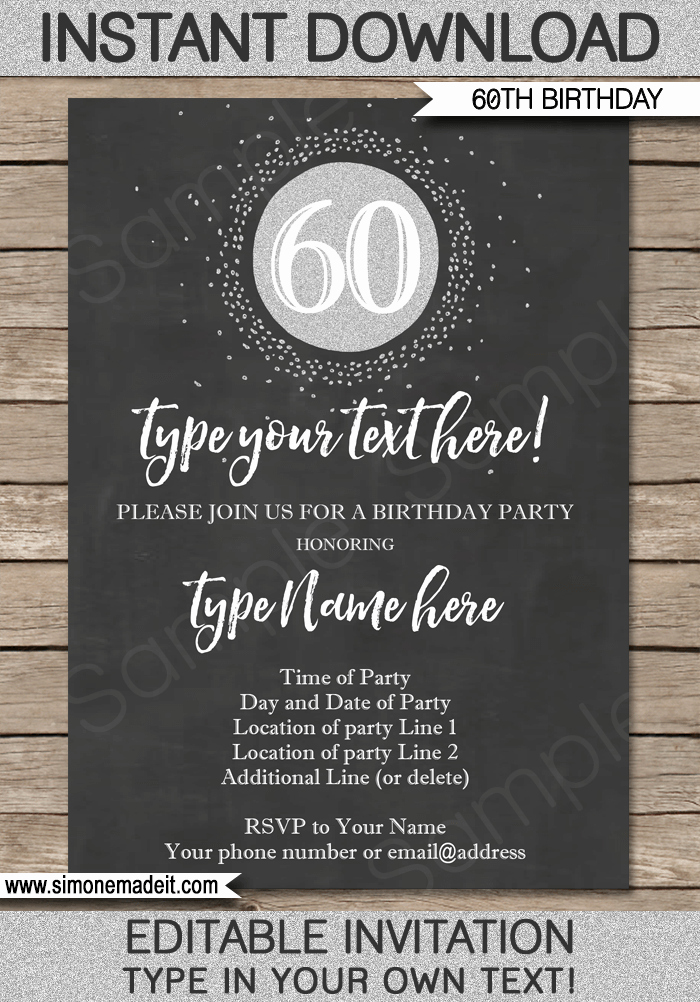Free Birthday Chalkboard Template Luxury Chalkboard 60th Birthday Invitations Template