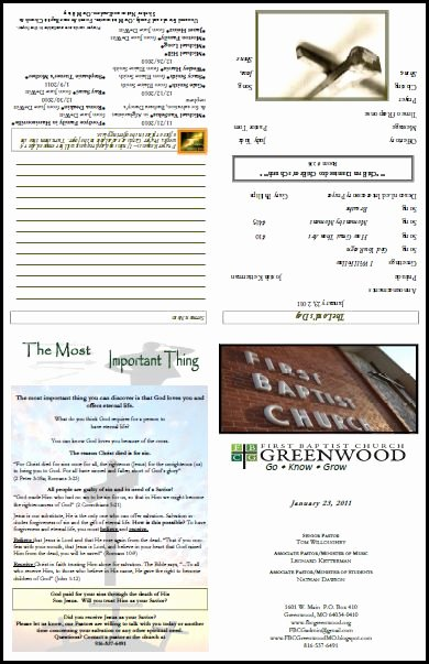 Free Bulletin Template Awesome Free Church Bulletin Layouts Greenwood Bulletin1