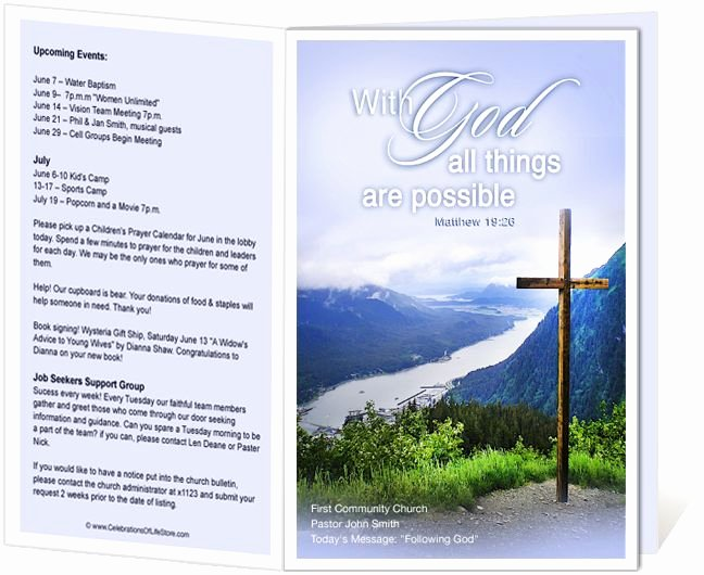 Free Bulletin Template Best Of Church Bulletin Templates Mountain with God All Things