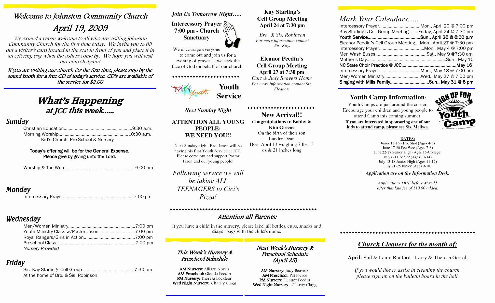 Free Bulletin Template Fresh 12 Church Bulletin Template Microsoft Word Oinwy