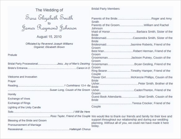 Free Bulletin Template Luxury Free Wedding Program Word Templates