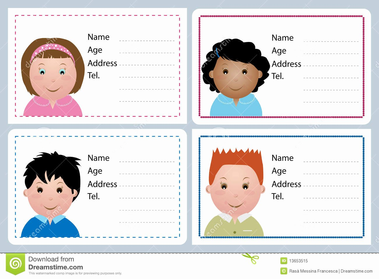Free Child Id Card Template Awesome Children Name Card Stock Vector Illustration Of