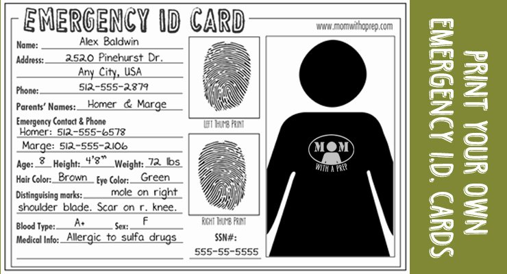 Free Child Id Card Template Awesome Emergency Id Cards Free Download Mom with A Prep