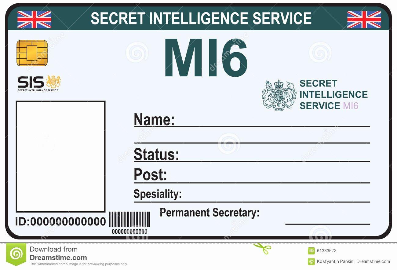 Free Child Id Card Template Beautiful Identité Un Agent Secret De Mi 6 Illustration De Vecteur