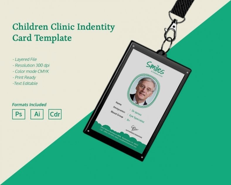 Free Child Id Card Template Elegant Simple Children Clinic Identity Card Template