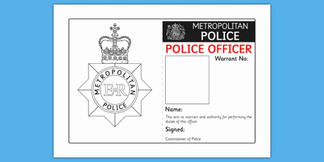 Free Child Id Card Template Inspirational Police Identity Badge Role Play Template Police Id Badge