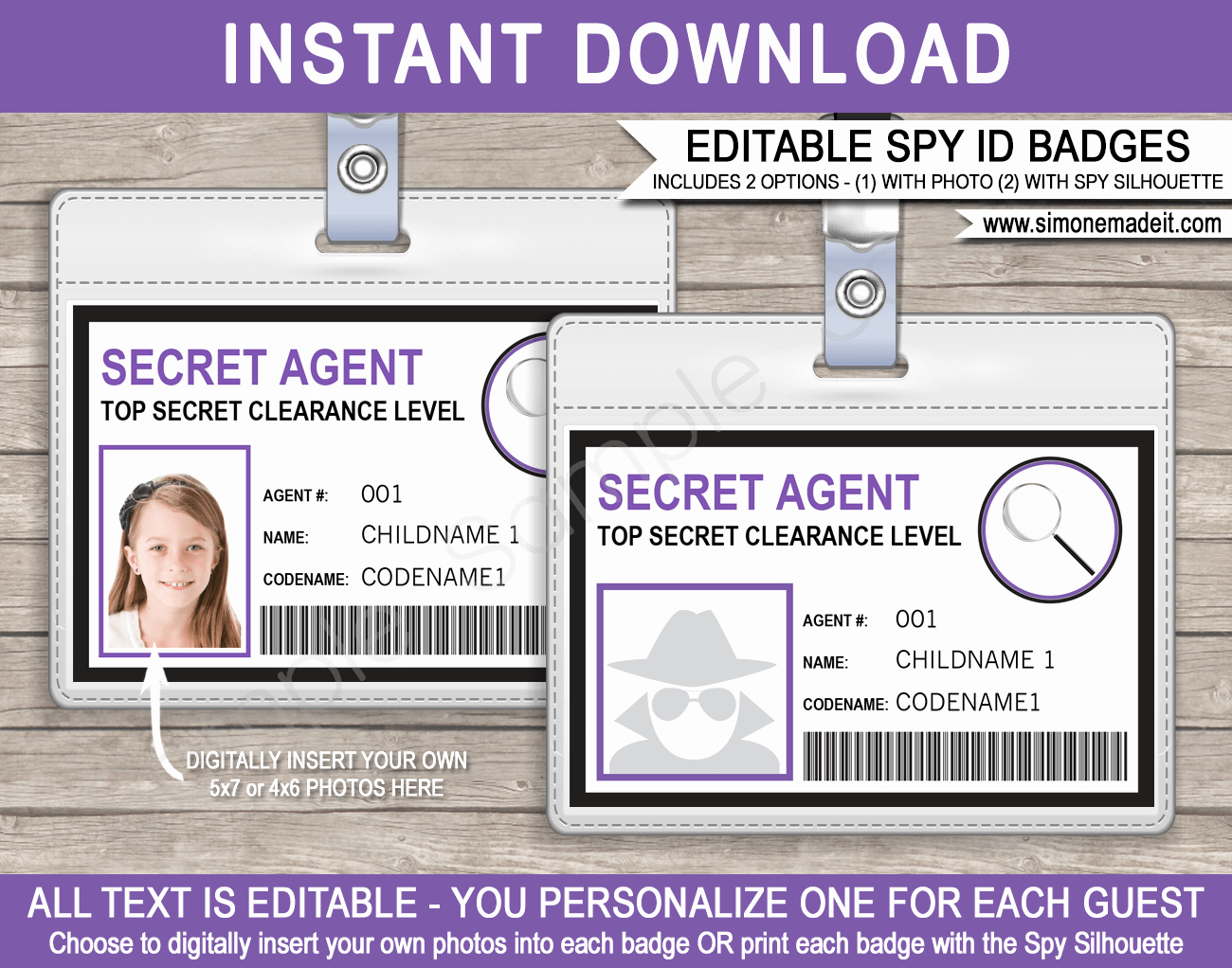 Free Child Id Card Template Lovely Girls Secret Agent Badge Template Spy Badge