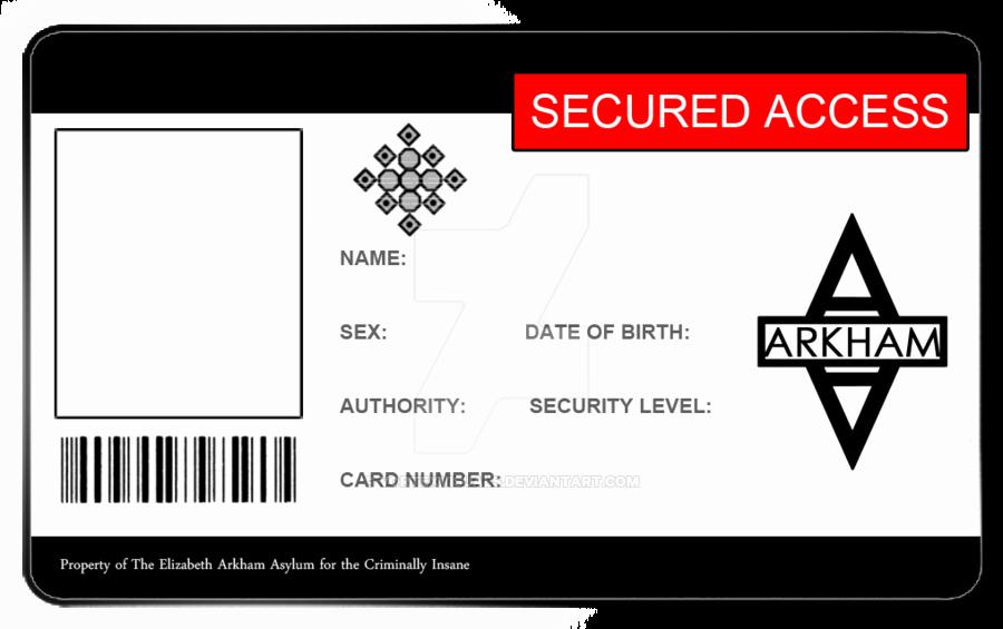 Free Child Id Card Template Luxury Arkham asylum Id Card Blank by Vortexvisuals On Deviantart