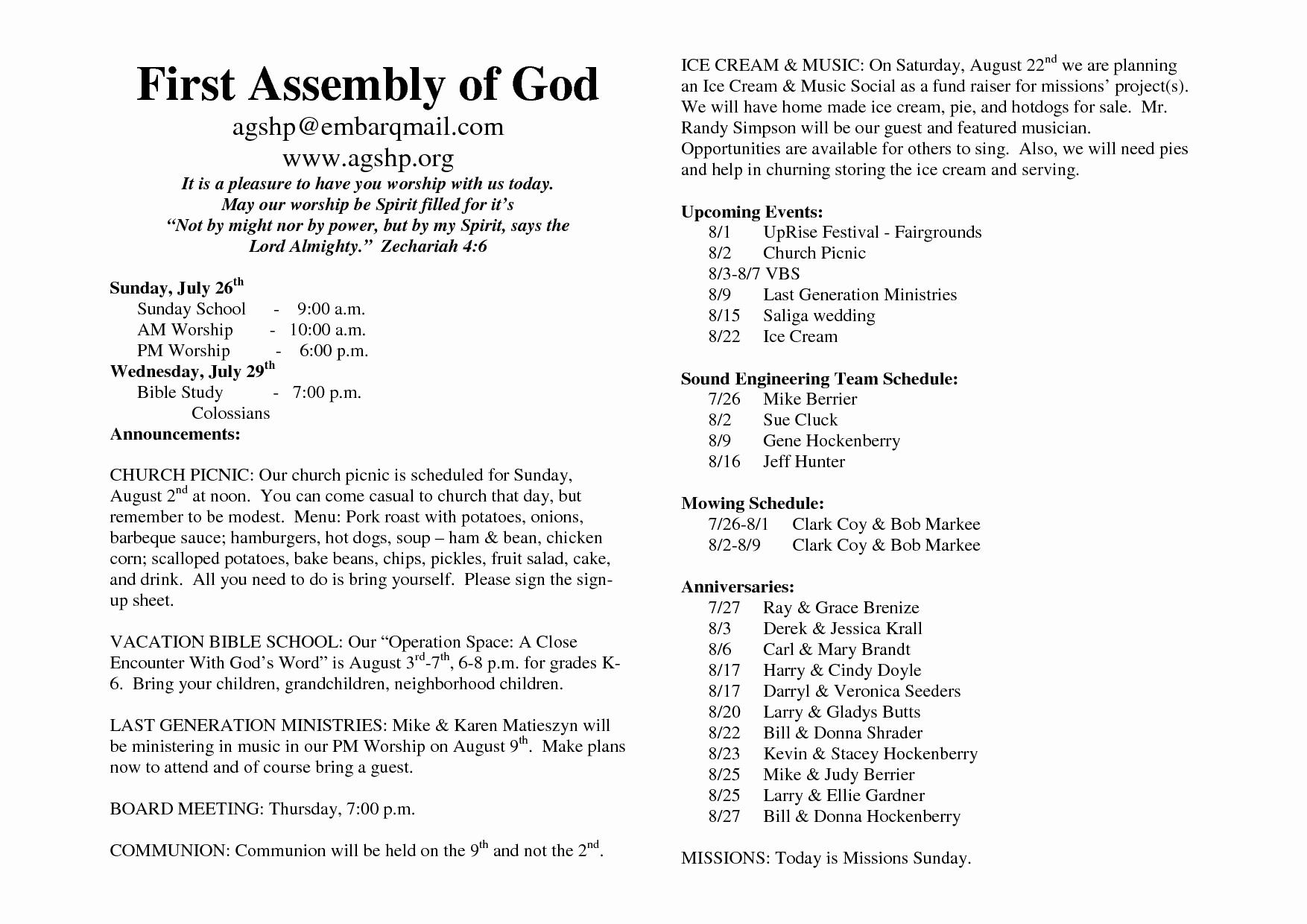 Free Church Bulletin Templates Elegant 26 Of Church Bulletin Template Microsoft Word