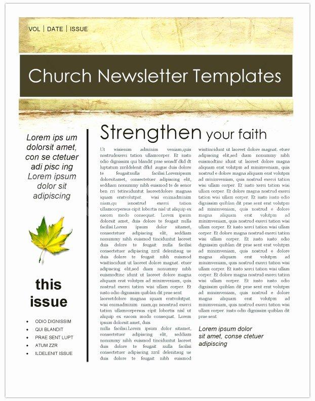 Free Church Bulletin Templates Microsoft Publisher Beautiful Fall Leaves Church Newsletter Template Template