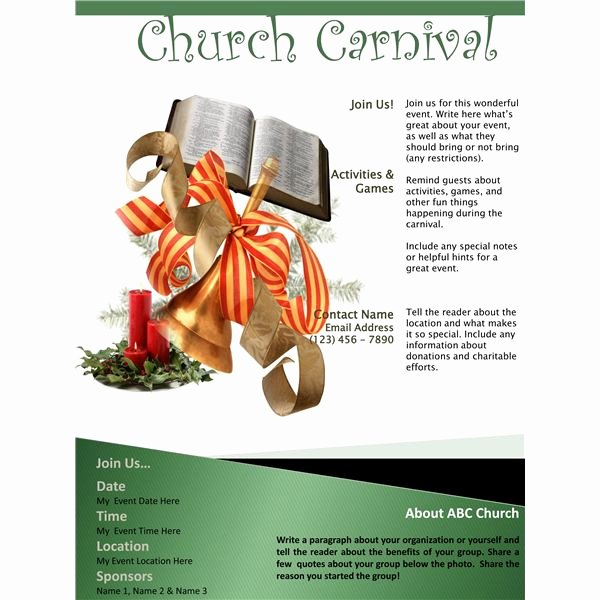 Free Church Flyer Templates Microsoft Word Elegant 3 Church Carnival Flyer Templates Using Microsoft Fice