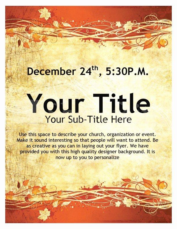 Free Church Flyer Templates Microsoft Word Elegant Thanksgiving event Flyer Template