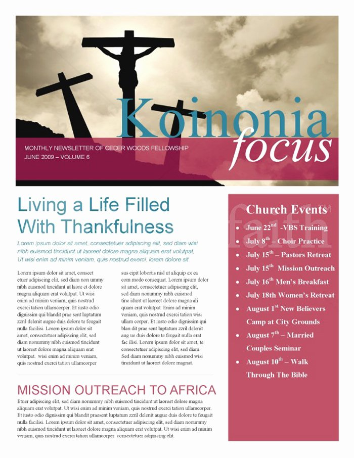Free Church Newsletter Templates for Microsoft Publisher Awesome 15 Free Church Newsletter Templates Ms Word Publisher