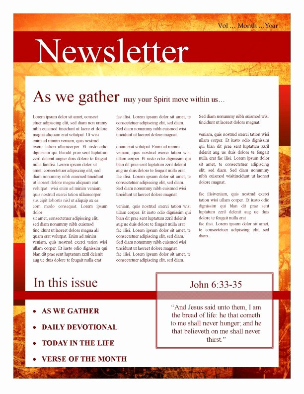 Free Church Newsletter Templates for Microsoft Publisher Awesome Fall Leaves Church Newsletter Template
