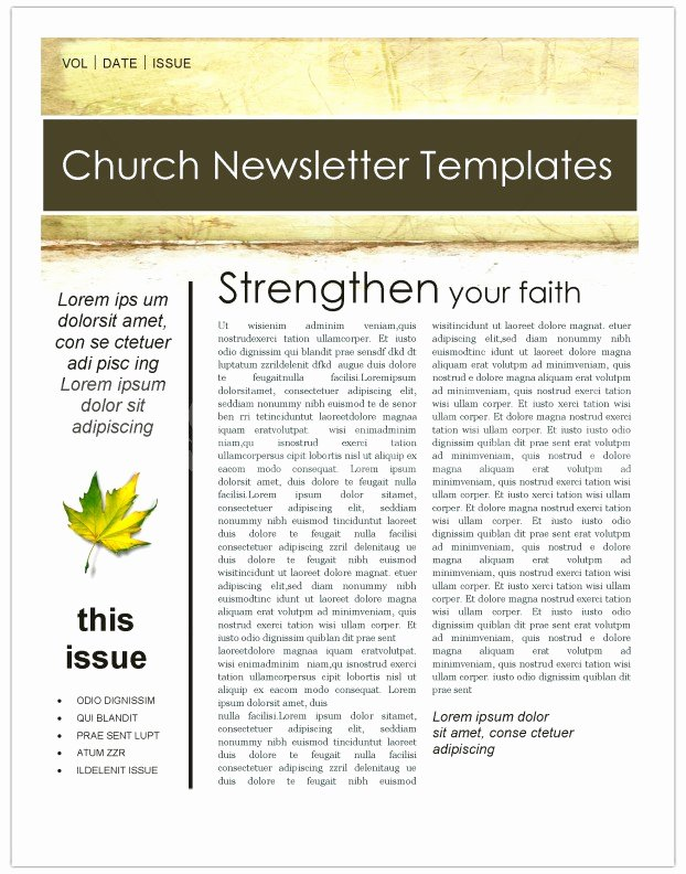 Free Church Newsletter Templates for Microsoft Publisher Beautiful Fall Leaves Church Newsletter Template Template