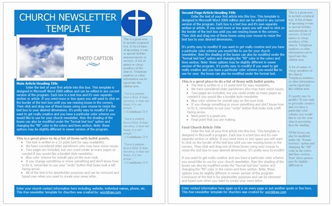 Free Church Newsletter Templates for Microsoft Publisher Elegant Church Newsletter Template Free for Word