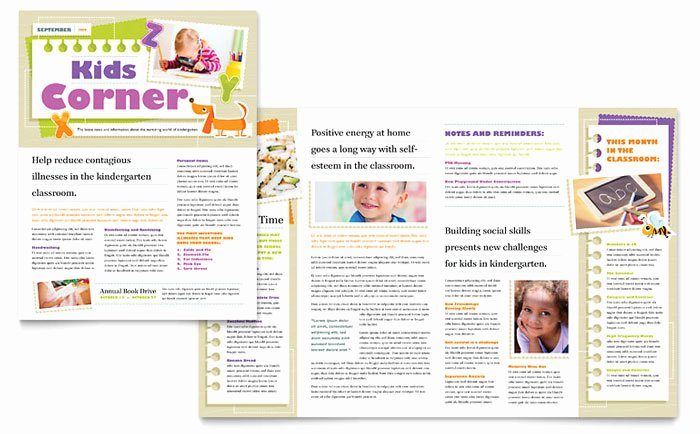 Free Church Newsletter Templates for Microsoft Publisher Fresh Kindergarten Newsletter Template Design