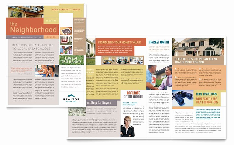 Free Church Newsletter Templates for Microsoft Publisher Lovely Realtor & Real Estate Agency Newsletter Template Word