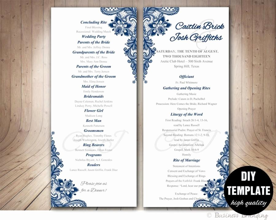 Free Church Program Template Microsoft Word Best Of Navy Blue Wedding Program Template Instant Download