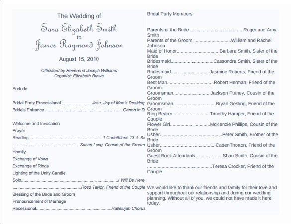 Free Church Program Template Microsoft Word Fresh 8 Word Wedding Program Templates Free Download