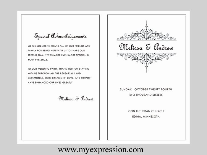 Free Church Program Template Word Elegant Wedding Program Template Vintage Filigree Instant Download