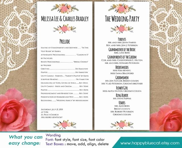 Free Church Program Template Word New Diy Printable Program Wedding Template Instant Download
