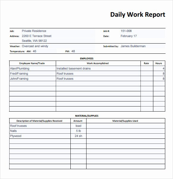 Free Construction Daily Report Template Excel Unique Sample Daily Report 25 Documents In Pdf Word