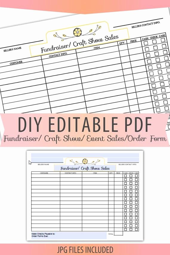 Free Craft order form Template Awesome Diy Editable Printable Pdf order form Fundraiser Craft