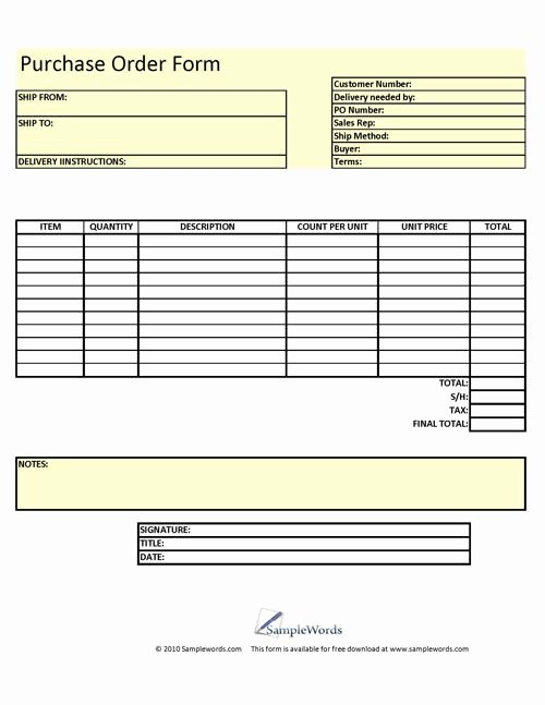 Free Craft order form Template Awesome Purchase order form Printable Download