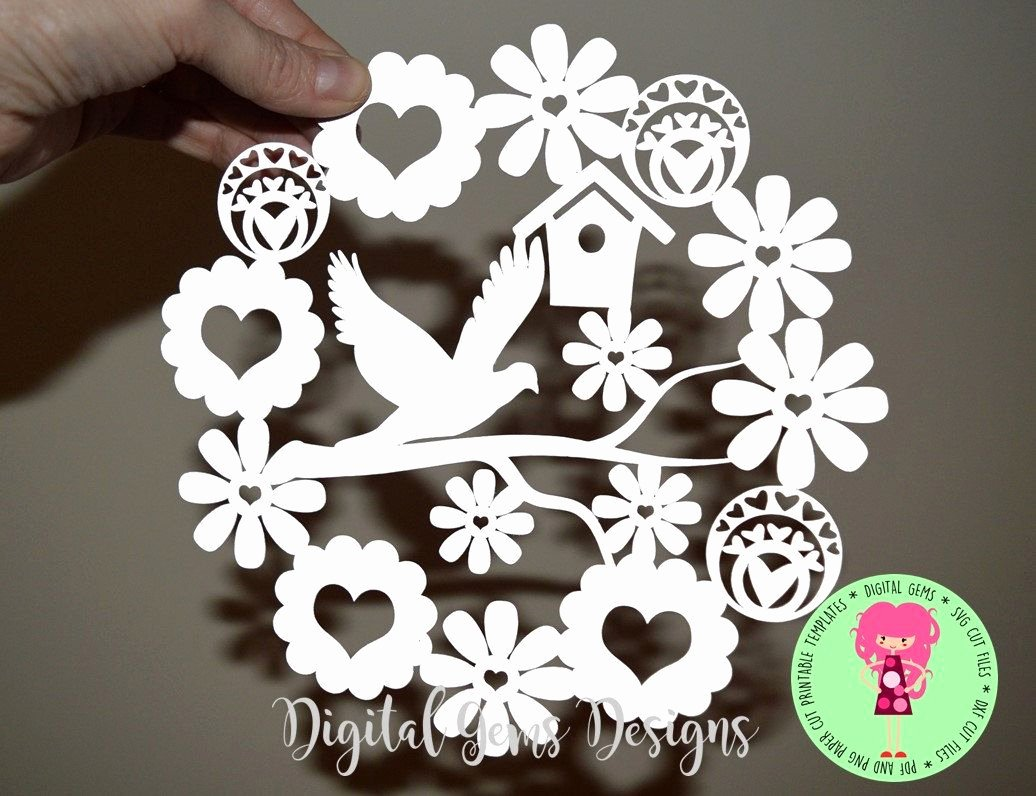 Free Cricut Paper Flower Template Beautiful Dove and Flower Paper Cut Template Svg Dxf Cutting File