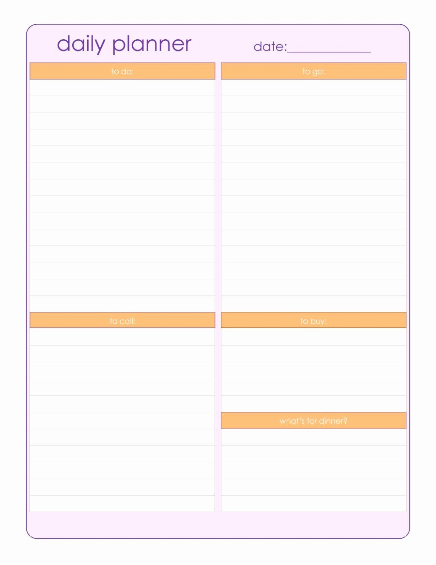 Free Daily Schedule Template Awesome 40 Printable Daily Planner Templates Free Template Lab