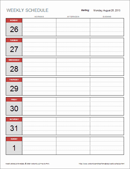 Free Daily Schedule Template Beautiful Weekly Schedule Template for Excel