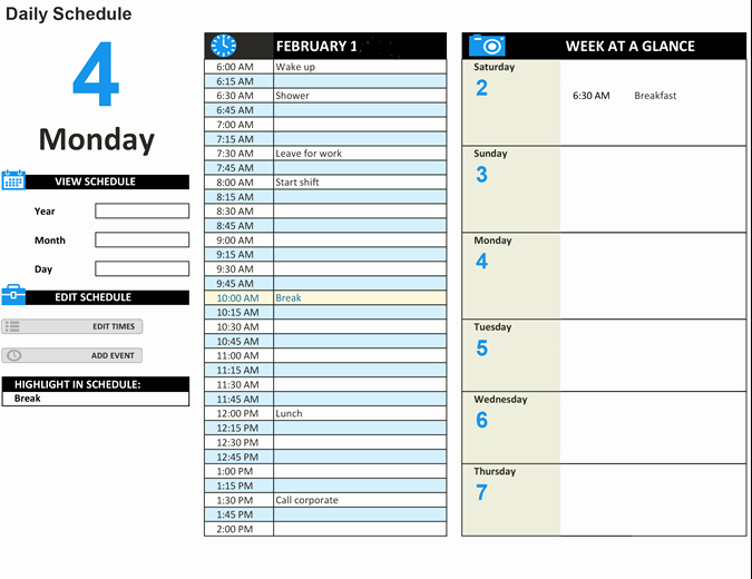 Free Daily Schedule Template Best Of Daily Work Schedule